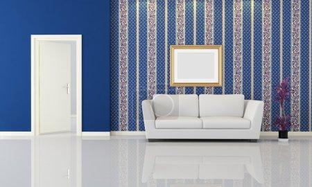 weiss blau horizontale entwerfen leer pflanze