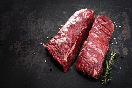 rot, Hintergrund, Frisch, Kräuter, Rindfleisch, ungekocht - B452182124