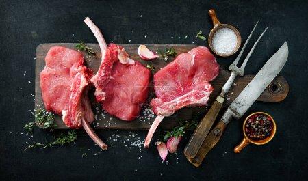 Rot, Hintergrund, Frisch, Rindfleisch, ungekocht, Fleisch - B460764406