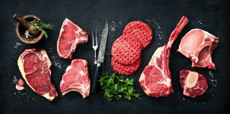 Hintergrund, Frisch, Kräuter, Rindfleisch, ungekocht, Fleisch - B452183086