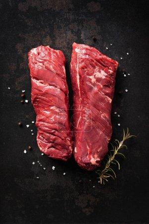 rot, Hintergrund, Frisch, Kräuter, Rindfleisch, ungekocht - B452183510