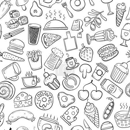 weiß, Vektor, Hintergrund, Illustration, eingestellt, Lebensmittel - B74461411